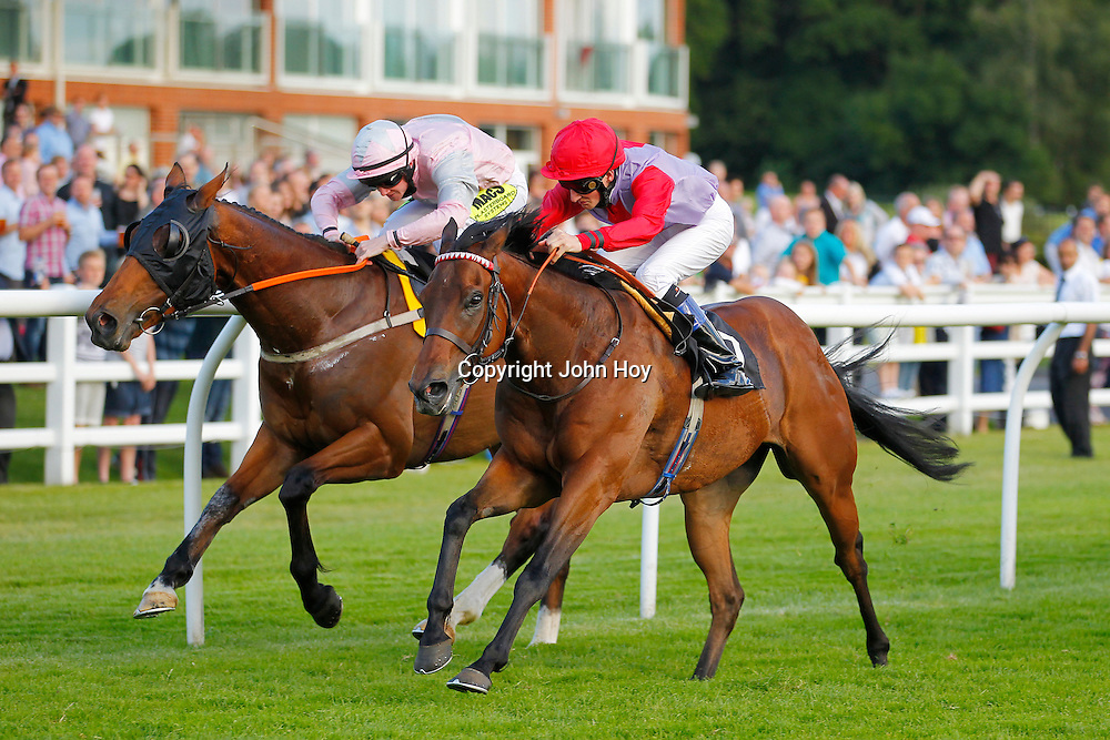 Royal Caper and Jack Gilligan winning the 6.35 race