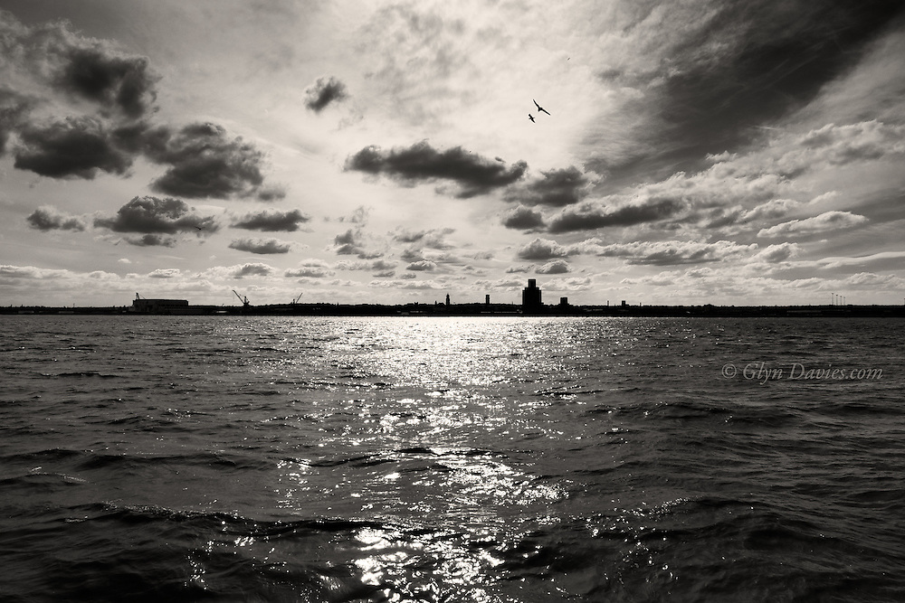 The river Mersey was flowing very fast out towards the Irish Sea, the sounds of wind waves slopping against the dockside. Clouds were shooting across the sky in the opposite direction and the gulls were playing in the visual turmoil of it all. I love the Mersey.