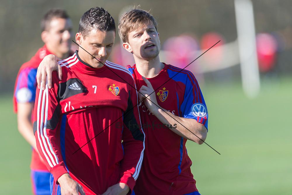 15.01.2014; Marbella; Fussball Super League - Training FC Basel;<br /> David Degen und Valentin Stocker (Andy Mueller/freshfocus)