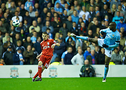 LIVERPOOL, ENGLAND - Monday, April 11, 2011: Liverpool's John Flanagan in action on his debut during the Premiership match against Manchester City at Anfield. (Photo by David Rawcliffe/Propaganda)