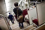(En) January 2010 - Koyasan, Japan.  Koyasan is at a 3-hour-journey from Osaka, the nearest city. On the last section of the journey to Koyasan, visitors must use a cable-car. (Fr) Janvier 2010 - Koyasan, Japon. Le Koyasan est a 3h de train de la grande ville la plus proche, Osaka. La dernière partie du voyage vers le Koyasan s'effectue à bord d'un funiculaire.