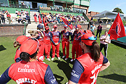 Lancashire team talk during the Vitality T20 Blast North Group match between Lancashire Thunder and Yorkshire Vikings at Liverpool Cricket Club, Liverpool, United Kingdom on 13 August 2019.