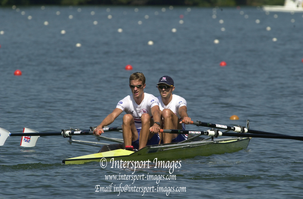 Peter Spurrier Sports  Photo.email pictures@rowingpics.com.Tel 44 (0) 7973 819 551.Photo Peter Spurrier.Senior World Rowing Championships 2001.Lake Rotsee.Tuesday.GBR LM2X.Tim Male and Tom Middleton. 20010819 FISA World Rowing Championships, Lucerne, SWITZERLAND
