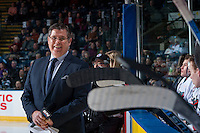 KELOWNA, CANADA - JANUARY 30: SportsNet broadcaster Rob Faulds stands on the ice in front of the Kelowna Rockets bench against the Victoria Royalson January 30, 2016 at Prospera Place in Kelowna, British Columbia, Canada.  (Photo by Marissa Baecker/Shoot the Breeze)  *** Local Caption *** Rob Faulds;