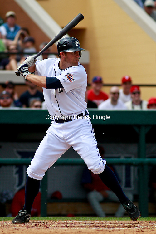 March 9, 2011; Lakeland, FL, USA; Detroit Tigers third baseman Danny Worth (29) during a spring training exhibition game against the Philadelphia Phillies at Joker Marchant Stadium.   Mandatory Credit: Derick E. Hingle