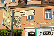 MEISSEN, GERMANY - MAY 22, 2010: View to the directions sign at the street in Meissen, Germany.