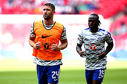 Gary Cahill of Chelsea and Victor Moses of Chelsea warm up - Mandatory by-line: Robbie Stephenson/JMP - 06/08/2017 - FOOTBALL - Wembley Stadium - London, England - Arsenal v Chelsea - FA Community Shield