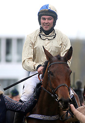 Hazel Hill ridden by Alex Edwards celebrates victory at the St. James' Place Foxhunter Challenge Cup Open Hunters' Chase during Gold Cup Day of the 2019 Cheltenham Festival at Cheltenham Racecourse.