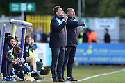 AFC Wimbledon manager Neal Ardley during the Sky Bet League 2 match between AFC Wimbledon and Portsmouth at the Cherry Red Records Stadium, Kingston, England on 26 April 2016.