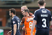 14th April 2018, Tannadice Park, Dundee, Scotland; Scottish Championship football, Dundee United versus Falkirk; Scott McDonald of Dundee United congratulates Thomas Mikkelsen after the striker had scored for 1-0