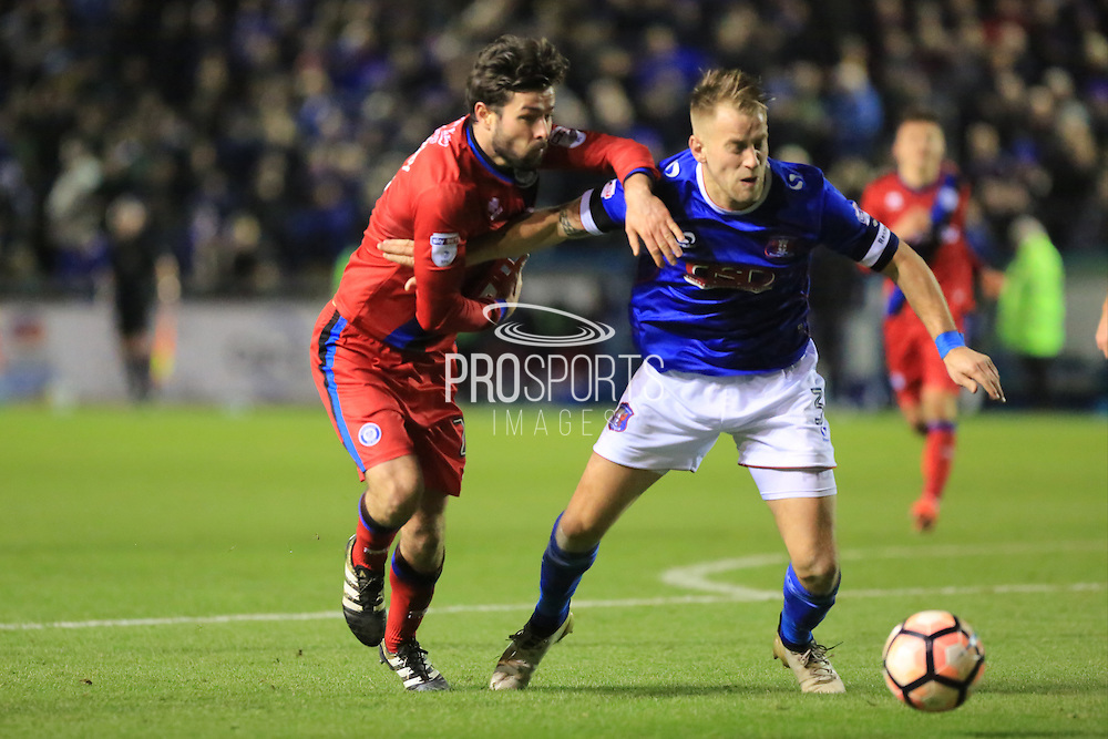 Danny Grainger holds off Joe Rafferty during the The FA Cup match between Carlisle United and Rochdale at Brunton Park, Carlisle, England on 3 December 2016. Photo by Daniel Youngs.