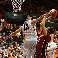 Oregon State's Drew Eubanks, left, blocks Stanford's Rocso Allen's shot in the second half of an NCAA college basketball game, in Corvallis, Ore., on Wednesday, Jan. 6, 2016. Stanford won 78-72. AP Photo/Timothy J. Gonzalez)