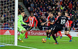 SUNDERLAND, ENGLAND - Monday, January 2, 2017: Liverpool's Sadio Mane scores the second goal against Sunderland during the FA Premier League match at the Stadium of Light. (Pic by David Rawcliffe/Propaganda)