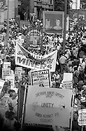 Sherburn Miners Support Group, Allerton Silkstone and Glasshoughton banners, 1984 Yorkshire Miner's Gala. Wakefield.