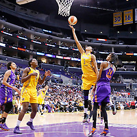 24 August 2014: Los Angeles Sparks forward/center Candace Parker (3) goes for the layup during the Phoenix Mercury 93-68 victory over the Los Angeles Sparks, in a Conference Semi-Finals at the Staples Center, Los Angeles, California, USA.