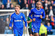 Gillingham midfielder Josh Wright (44) celebrates scoring his scent penalty goal (2-2) with Gillingham defender Zesh Rehman (31) during the EFL Sky Bet League 1 match between Gillingham and Scunthorpe United at the MEMS Priestfield Stadium, Gillingham, England on 11 March 2017. Photo by Martin Cole.