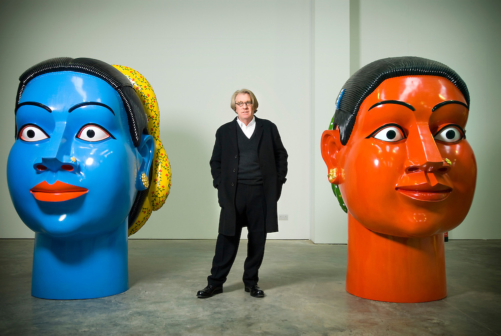 UK. Wolverhampton. Art collector Frank Cohen (founder of Glyn Webb Home Improvement Stores) in his Gallery called Initial Access, just outside the Midlands town of Wolverhampton..The current exhibition consists of Chinese and Indian contemporary Art..Photo©Steve Forrest/Workers Photos