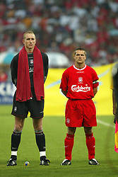 BANGKOK, THAILAND - Thailand. Thursday, July 24, 2003: Liverpool's captain Michael Owen and goalkeeper Chris Kirkland line up to face Thailand before a preseason friendly match at the Rajamangala National Stadium. (Pic by David Rawcliffe/Propaganda)
