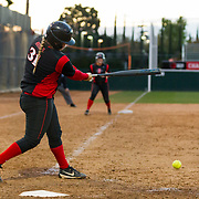 02 March 2018: San Diego State softball hosts Minnesota on day two of the San Diego Classic I at Aztec Softball Stadium. San Diego State third baseman Molly Sturdivant (31) hits a two out rbi single to give the Aztecs a 6-2 lead. The Aztecs beat the #21/20 Gophers 6-2.<br /> More game action at sdsuaztecphotos.com