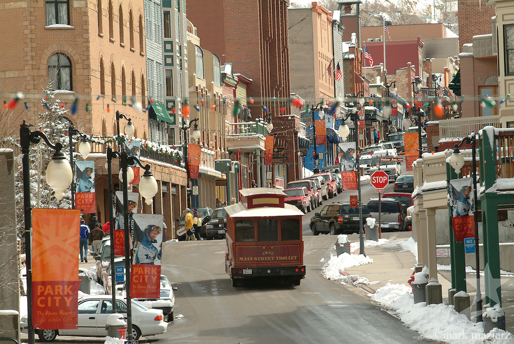 Main Street Trolley on Main St in winter during day, Park City Utah