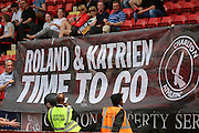 Charlton fans protesting during the Sky Bet Championship match between Charlton Athletic and Burnley at The Valley, London, England on 7 May 2016. Photo by Matthew Redman.