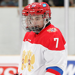 TRENTON, - Dec 10, 2015 -  Exhibition Game 3-  Russia vs Team Canada West at the 2015 World Junior A Challenge at the Duncan Memorial Gardens, ON. Pavel Ryzhenkov #7 of Team Russia during the pre-game warmup (Photo: Amy Deroche / OJHL Images)
