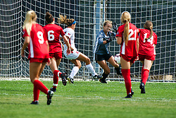 NORMAL, IL - August 10:  Abby Basler drives the ball into the net past goalie Bella Henderson during a nonconference exhibition women's soccer match between the Southern Illinois Edwardsville Cougars and the Illinois State Redbirds August 10 2019 on Adelaide Street Field in Normal IL (Photo by Alan Look)