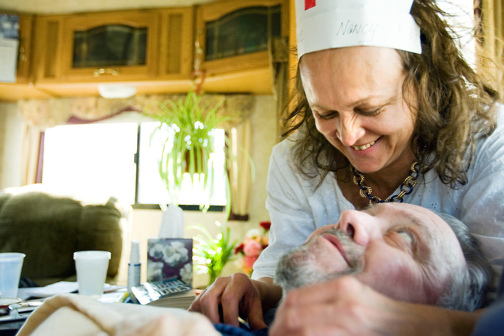 """April 1, 2007 -- Nancy crafted a nurses hat out of some paper to """"look more professional"""" when she took care of Dick's medical needs in their 38-foot-long fifth-wheel trailer in Post Falls. """"I know she loves me, because who else would do this day in and day out,"""" Dick said. """"She's a strong woman."""""""