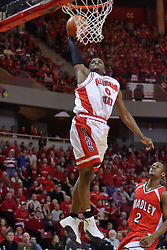 """31 January 2009: Osiris Eldridge floats up to the rim for a stuff. The Illinois State University Redbirds join the Bradley Braves in a tie for 2nd place in """"The Valley"""" with a 69-65 win on Doug Collins Court inside Redbird Arena on the campus of Illinois State University in Normal Illinois"""