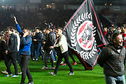Fans invade the pitch at full time after Exeter win 3-2 to book their place at Wembley during the EFL Sky Bet League 2 play off second leg match between Exeter City and Carlisle United at St James' Park, Exeter, England on 18 May 2017. Photo by Graham Hunt.