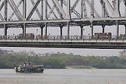 Ferry for persons under Howrah Bridge. Calcutta. India.