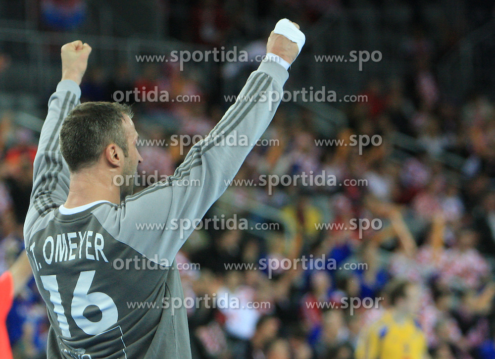 Goalkeeper of France Thierry Omeyer during 21st Men's World Handball Championship 2009 Main round Group I match between National teams of France and Sweden, on January 24, 2009, in Arena Zagreb, Zagreb, Croatia.  (Photo by Vid Ponikvar / Sportida)