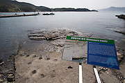 Goseong Dinosaur Museum. Footprint fossil site exploration path. Dino footprints visble during low tide.