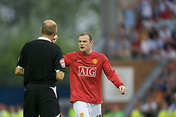 WIGAN, ENGLAND - Sunday, May 11, 2008: One-time England captain and role model to youngsters, Manchester United's Wayne Rooney screams at the referee as a decision goes against him, the referee finally shows a yellow card, during the final Premiership match of the season at the JJB Stadium. (Photo by David Rawcliffe/Propaganda)