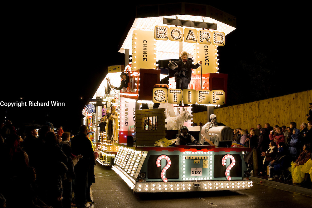 Boardstiff by Shambles Carnival Club at Bridgwater Carnival 2009. Third in the Tableau Cart Open Class.