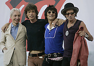 The Rolling Stones members Charlie Watts, Mick Jagger, Ron Woods and Keith Richards pose together following a news conference at which they announced the new concert tour. At the Juilliard School of Music in New York Tuesday 10 May 2005.