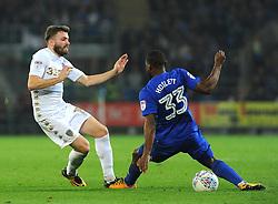 Stuart Dallas of Leeds United loses the ball to Junior Hoilett of Cardiff City -Mandatory by-line: Nizaam Jones/JMP - 26/09/2017 -  FOOTBALL - Cardiff City Stadium - Cardiff,Wales -  Cardiff City v Leeds United - Sky Bet Championship