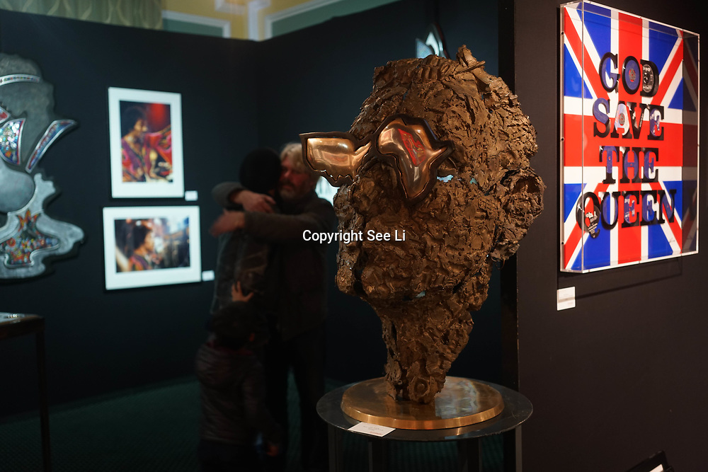 Chelsea Old Town Hall.London,England,UK. 26th April 2017. Bono / Guns, Gold & Gods by Artist Guy Portelli exhibition  at Chelsea Art Fair - press & photocall of King's Road Revolution Where Art meets Music at Chelsea Old Town Hall. by See Li