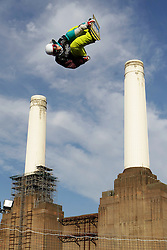 © Licensed to London News Pictures. 29/10/2011, London, UK.  Finland's Petja Piiroinen jumps during a qualification heat of the FIS Snowboard World Cup Bir Air competition at the Freeze Snowboard and Ski Festival at Battersea Power Station in London, Saturday, Oct. 29, 2011. Photo credit : Sang Tan/LNP