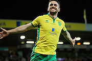 Norwich City midfielder Robbie Brady celebrates after scoring during the EFL Sky Bet Championship match between Norwich City and Brentford at Carrow Road, Norwich, England on 3 December 2016. Photo by Nigel Cole.