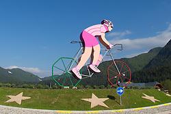 15.05.2013, Tarvis, ITA, Giro d Italia 2013, 11. Etappe, Tarvis nach Vajont, im Bild Giro Dekoration an einem Kreisverkehr // cyclist as a Giro decoration on a roundabout during Giro d' Italia 2013 at Stage 11 from Tarvis to Vajont at Tarvis, Italy on 2013/05/15. EXPA Pictures © 2013, PhotoCredit: EXPA/ J. Groder