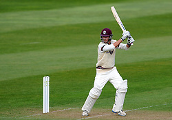 Somerset's Lewis Gregory drives the ball off the bowling of Durham's Graham Onions. - Photo mandatory by-line: Harry Trump/JMP - Mobile: 07966 386802 - 12/04/15 - SPORT - CRICKET - LVCC County Championship - Day 1 - Somerset v Durham - The County Ground, Taunton, England.