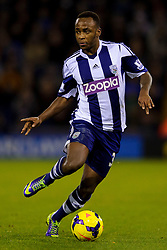 West Brom Forward Saido Berahino in action during the second half of the match - Photo mandatory by-line: Rogan Thomson/JMP - Tel: Mobile: 07966 386802 - 04/12/2013 - SPORT - FOOTBALL - The Hawthorns Stadium - West Bromwich Albion v Manchester City - Barclays Premier League.