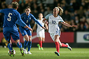 Toni Duggan (England) (Manchester City) runs after the ball to get it off Elena Linari (Italy) (Darl Fiorentina) during the Women's International Friendly match between England Ladies and Italy Women at Vale Park, Burslem, England on 7 April 2017. Photo by Mark P Doherty.