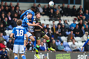 Forest Green Rovers Paul Digby(20) goes to head the ball clear during the EFL Sky Bet League 2 match between Macclesfield Town and Forest Green Rovers at Moss Rose, Macclesfield, United Kingdom on 29 September 2018.