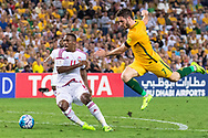 March 28 2017: Socceroos Mathew LECKIE (7) and United Arab Emirates Ahmed KHALIL (11) battle for the ball at the 2018 FIFA World Cup Qualification match, between The Socceroos and UAE played at Allianz Stadium in Sydney.