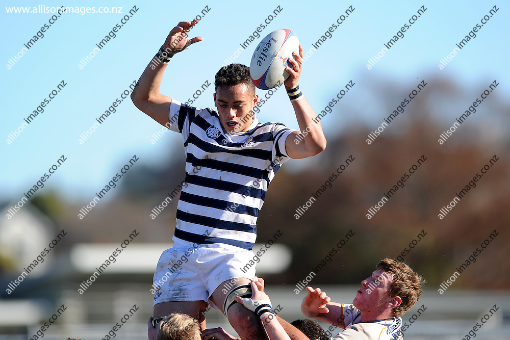 Isi Tuivaga of Otago Boys receives the ball from a lineout, during the Otago Secondary Schools playoff match between John McGlashan 1st XV and Otago Boys High School 1st XV, held at Bishops Court, Dunedin, New Zealand. 13 August 2016. Credit: Joe Allison / allisonimages.co.nz