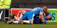 Photo. Jed Wee.<br /> Wigan Athletic v Crystal Palace, Nationwide League Division One, JJB Stadium, Wigan. 01/11/03.<br /> Wigan's Geoff Horsfield (R) celebrates his goal with Jimmy Bullard (C) and Jason Jarrett.