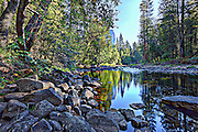 Merced River reflection in Yosemite National Park, CA