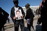 Family members of the Osh dead protest in front of parliament, Bishkek